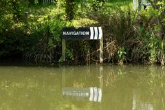 Sign on the Lea & Stort Navigation canal in Sawbridgeworth. Navigation sign on the River Stort in Sawbridgeworth Hertfordshire, used to guide canal boats away royalty free stock photo