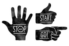 Navigation signs. Black hands silhouettes - pointing finger, stop hand and thumb up. Stop, Start, Go Stock Photos