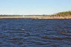 Navigation signs on river. Lena royalty free stock photos