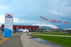 Navigation signs in the Sochi Olympic Park Royalty Free Stock Photo