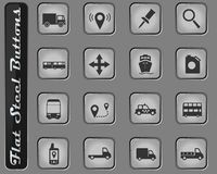 Navigation simply icons. Navigation web icons on the flat steel buttons stock images