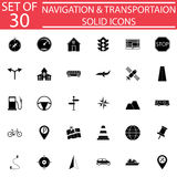 Navigation solid icon set, Transport signs Royalty Free Stock Images