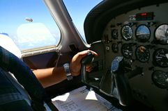 Navigation Sortie. A picture of a cockpit of a light aircraft during navigation sortie royalty free stock image