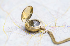Navigation still-life with a map Royalty Free Stock Image