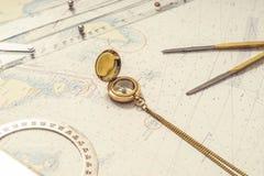 Navigation still-life. Skipper equipment. Stock Image