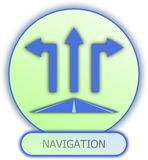 Navigation symbol and icon. Commercial icons and symbols of car parts - navigation Royalty Free Stock Images