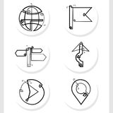 Navigation symbols are created by a straight continuous line assembled into a set stock illustration