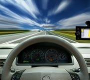 Navigation system. Satellite navigation system. Speed on the highway Royalty Free Stock Image