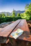 Navigation in Tatra mountains with map and compass in summer Stock Photo