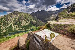 Navigation in Tatras with map and compass, Poland. Europe stock image