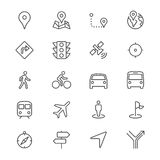 Navigation thin icons Stock Photo