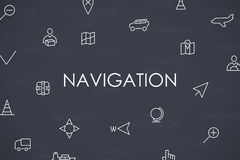 Navigation Thin Line Icons Royalty Free Stock Photography