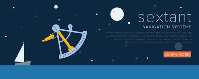 Navigation tools. Sextant. Banner or other graphic elements for web Stock Photos