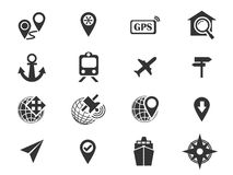 Navigation and transport icons set. Navigation simply icons for web and user interfaces Stock Photos