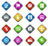 Navigation and transport icons set. Navigation vector icons for web sites and user interfaces Royalty Free Stock Images
