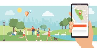 Navigation and travel app. Navigation app with map and location pin, urban park with people relaxing and walking on the background, augmented reality concept Royalty Free Stock Images