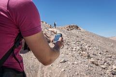 Navigation trekking hill Stock Photos