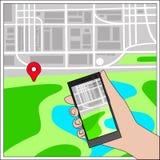 Navigation und Karte mit Ikone Stockfoto