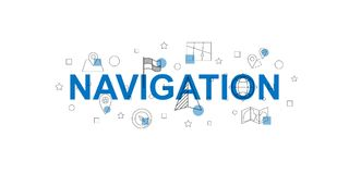 Navigation vector banner. Word with line icon. Vector background Stock Images