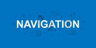 Navigation vector banner. Word with line icon. Vector background. Vector illustration Royalty Free Stock Photos