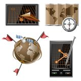 Navigation vector icon set Stock Images