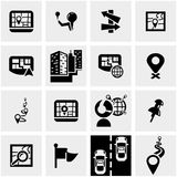 Navigation vector icon set on gray Royalty Free Stock Photography