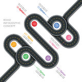 Navigation vector map infographic template. Winding road. stock illustration