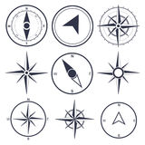 Navigation and wind rose compass set. Vector collection of Navigation icons and wind rose compasses Stock Images