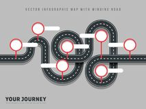 Navigation winding road vector way map infographic on grey background Royalty Free Stock Image