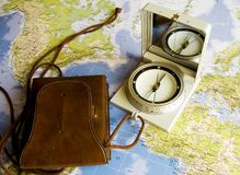 Navigation in world. Navigation with compass royalty free stock photography