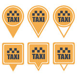 Navigation yellow pins for taxi Stock Photography