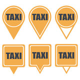 Navigation yellow pins for taxi with text Royalty Free Stock Image
