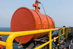Navigational buoy in orange color. Navigational buoy made of steel on offshore rig stock photos