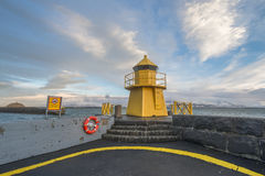 Navigational light in the harbor in Reykjavik Stock Photo