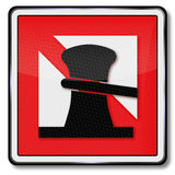 Navigational mark no anchorage. For ships Stock Photos