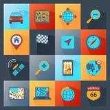 Navigations-Ikonen flach Lizenzfreies Stockbild