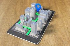 Navigationskonzept mit einem Handy und einem gepflasterten Weg Lizenzfreie Stockfotografie