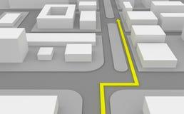 Navigationsweg auf Karte 3d stock abbildung