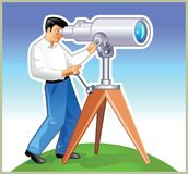 Navigator. Man looking for something by telescope in the around space vector illustration