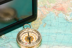 The navigator and compass Royalty Free Stock Images