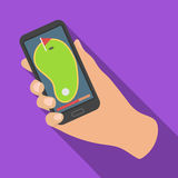 Navigator in the golf course phone.Golf club single icon in flat style vector symbol stock illustration web. Stock Images