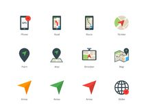 Navigator and GPS color icons on white background. Pictogram collection of navigation and direction, phone with GPS, road, route, map and arrows. Flat design Stock Images