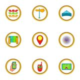 Navigator icons set, cartoon style Royalty Free Stock Photos