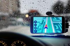 Navigator im Auto Stockbild