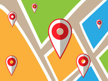 Navigator map with points. Journey concept design Royalty Free Stock Photos