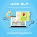 Navigazione del globo dei Gps della mappa di mondo del computer portatile Fotografia Stock Libera da Diritti