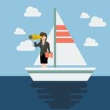 Navigazione dell'uomo di affari e futuro di ricerca Fotografia Stock Libera da Diritti