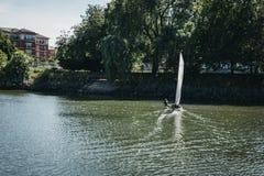 Navigazione dell'uomo sul Tamigi a Richmond, Londra, Regno Unito immagine stock