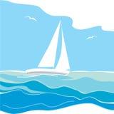 Navigazione dell'yacht sul mare Fotografia Stock