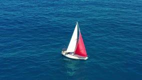 Navigazione dell'yacht sul mare aperto al giorno soleggiato Barca a vela con una vela rossa video d archivio